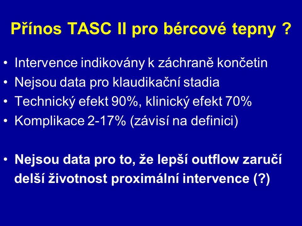 Přínos TASC II pro bércové tepny ? Intervence indikovány k záchraně končetin Nejsou data pro klaudikační stadia Technický efekt 90%, klinický efekt 70