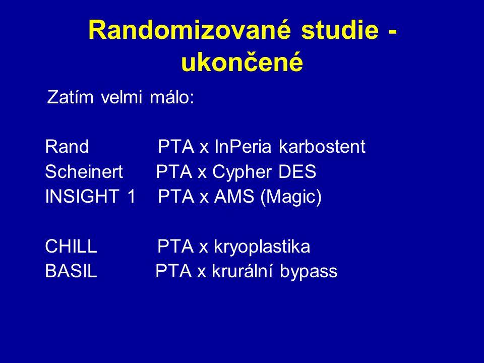 Randomizované studie - ukončené Zatím velmi málo: Rand PTA x InPeria karbostent Scheinert PTA x Cypher DES INSIGHT 1 PTA x AMS (Magic) CHILL PTA x kry