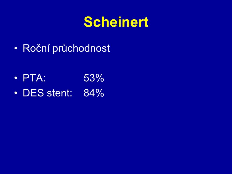 Scheinert Roční průchodnost PTA:53% DES stent:84%
