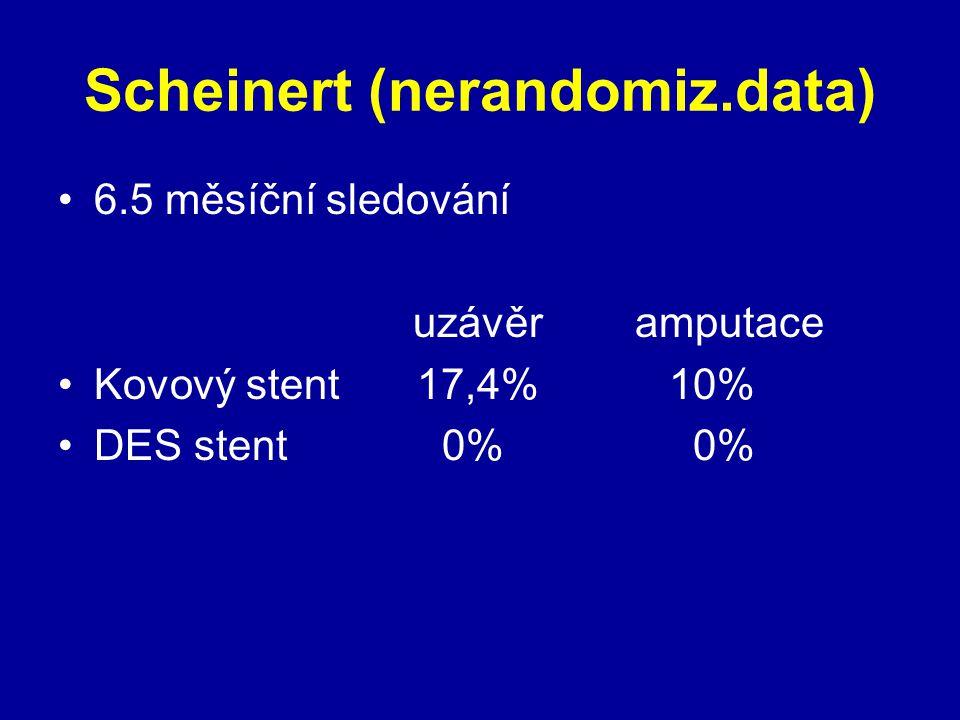 Scheinert (nerandomiz.data) 6.5 měsíční sledování uzávěr amputace Kovový stent 17,4% 10% DES stent0% 0%
