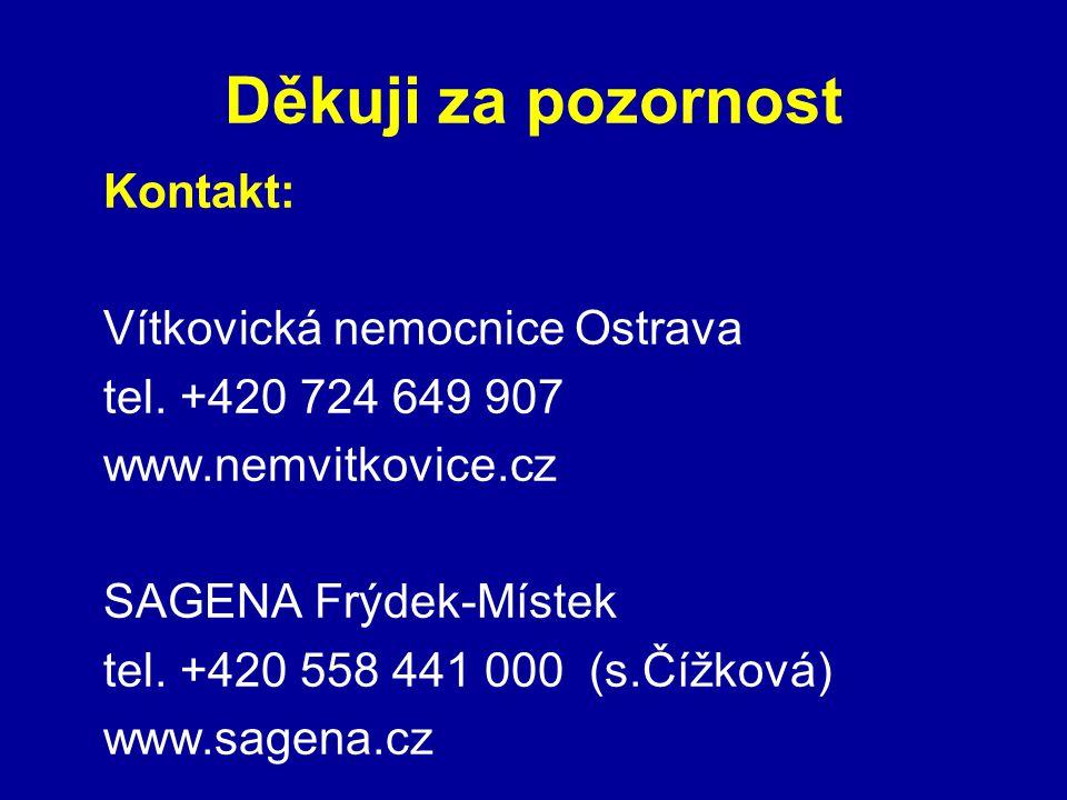 Děkuji za pozornost Kontakt: Vítkovická nemocnice Ostrava tel. +420 724 649 907 www.nemvitkovice.cz SAGENA Frýdek-Místek tel. +420 558 441 000 (s.Čížk