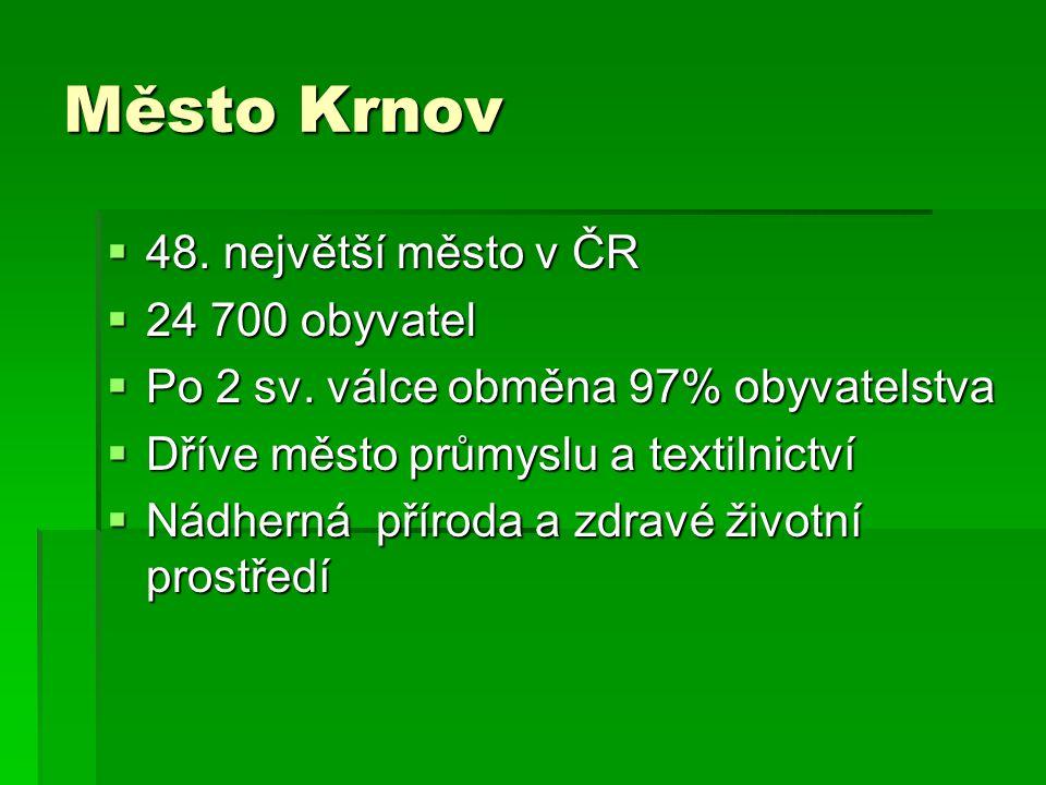 Město Krnov  48. největší město v ČR  24 700 obyvatel  Po 2 sv.