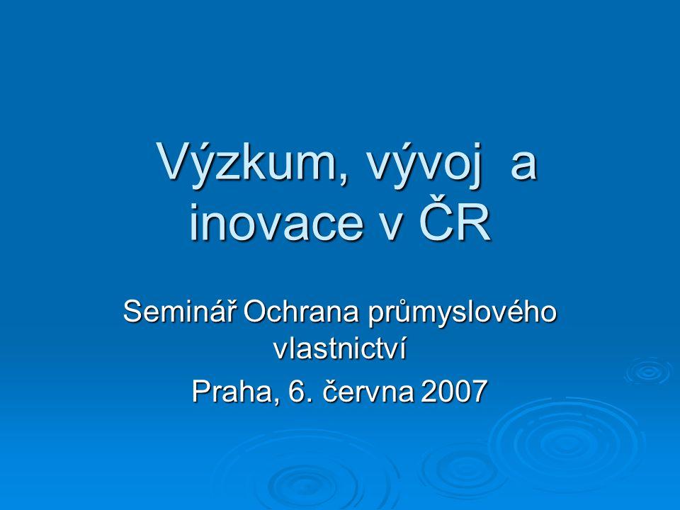 Výzkum, vývoj a inovace v ČR Výzkum, vývoj a inovace v ČR Seminář Ochrana průmyslového vlastnictví Praha, 6.