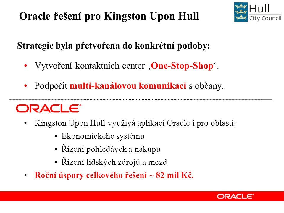Oracle řešení pro Kingston Upon Hull Strategie byla přetvořena do konkrétní podoby: Vytvoření kontaktních center 'One-Stop-Shop'.