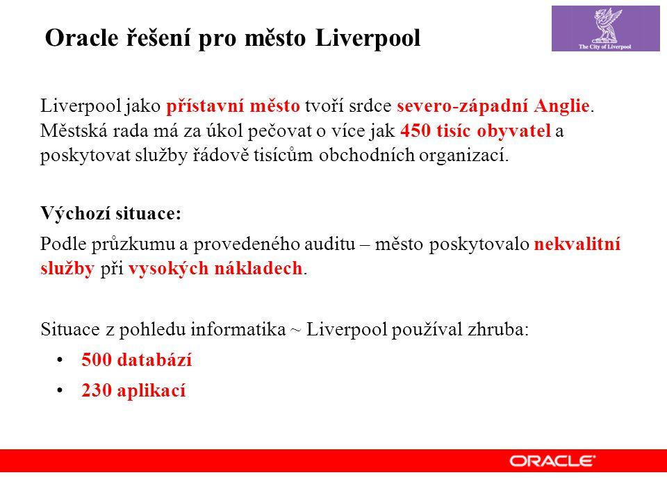 Oracle řešení pro město Liverpool Liverpool jako přístavní město tvoří srdce severo-západní Anglie.