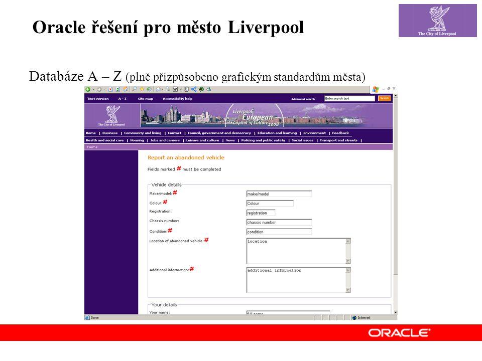 Oracle řešení pro město Liverpool Databáze A – Z (plně přizpůsobeno grafickým standardům města)