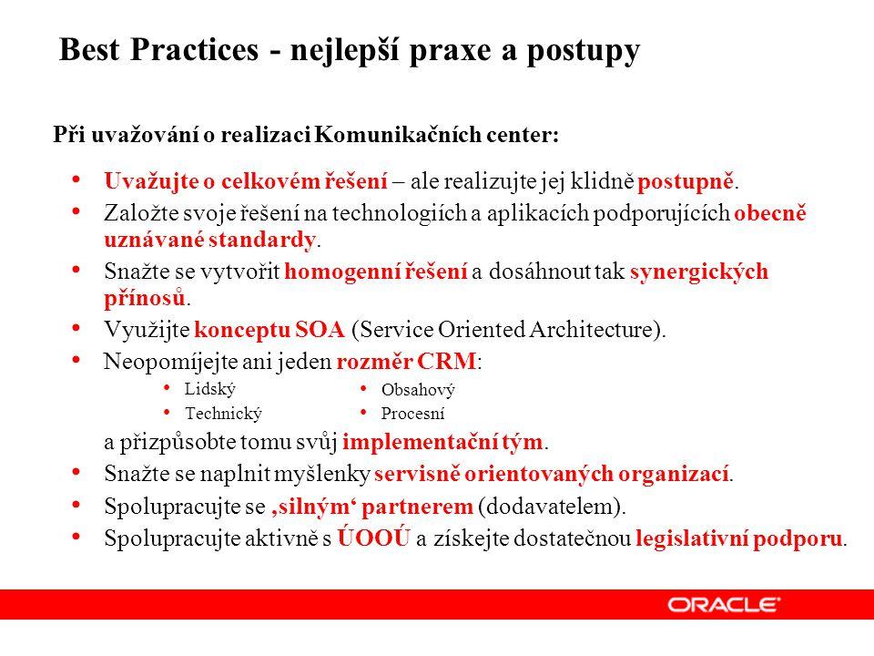 Best Practices - nejlepší praxe a postupy Při uvažování o realizaci Komunikačních center: Uvažujte o celkovém řešení – ale realizujte jej klidně postupně.
