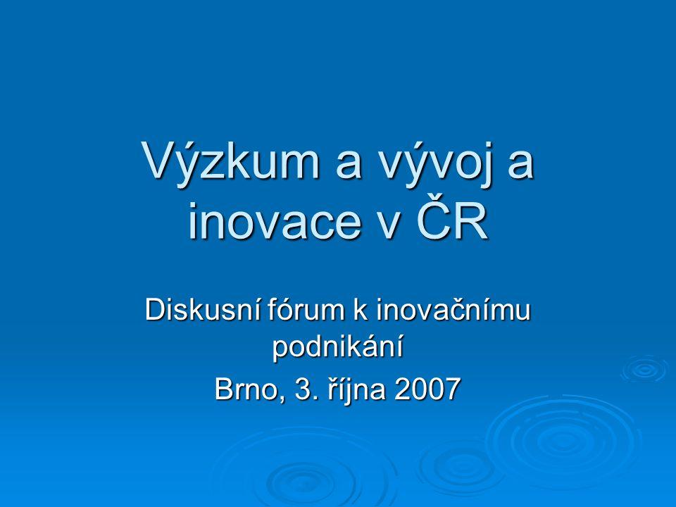 Výzkum a vývoj a inovace v ČR Diskusní fórum k inovačnímu podnikání Brno, 3. října 2007