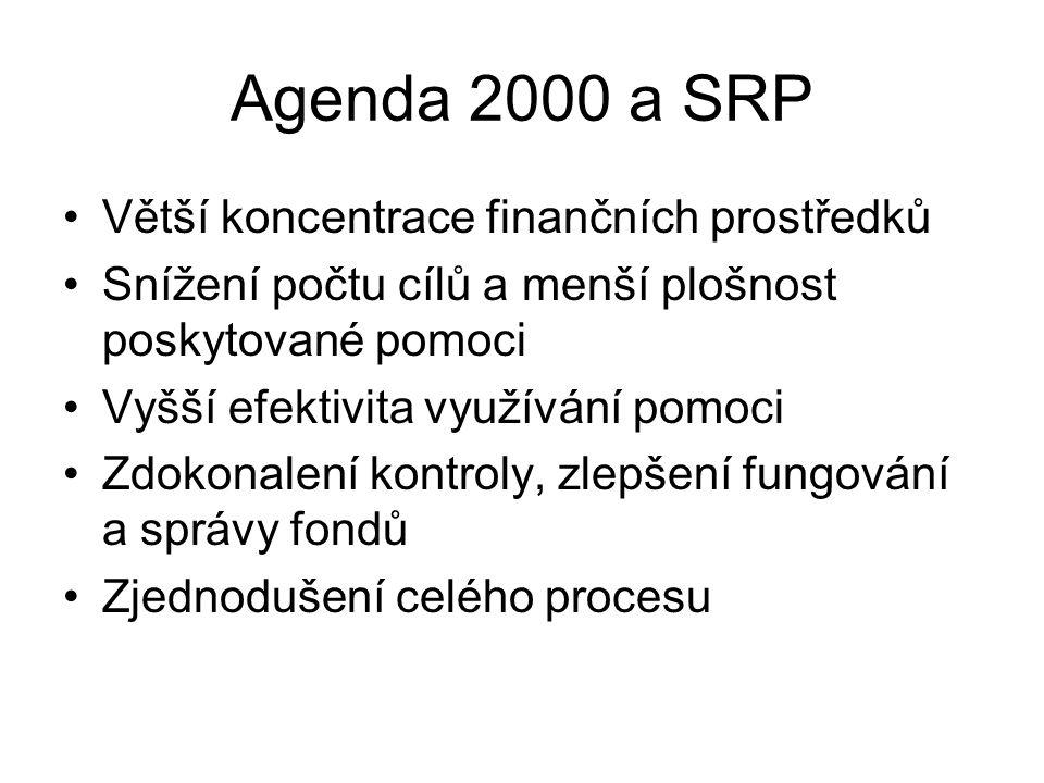 Agenda 2000 a SRP Větší koncentrace finančních prostředků Snížení počtu cílů a menší plošnost poskytované pomoci Vyšší efektivita využívání pomoci Zdo