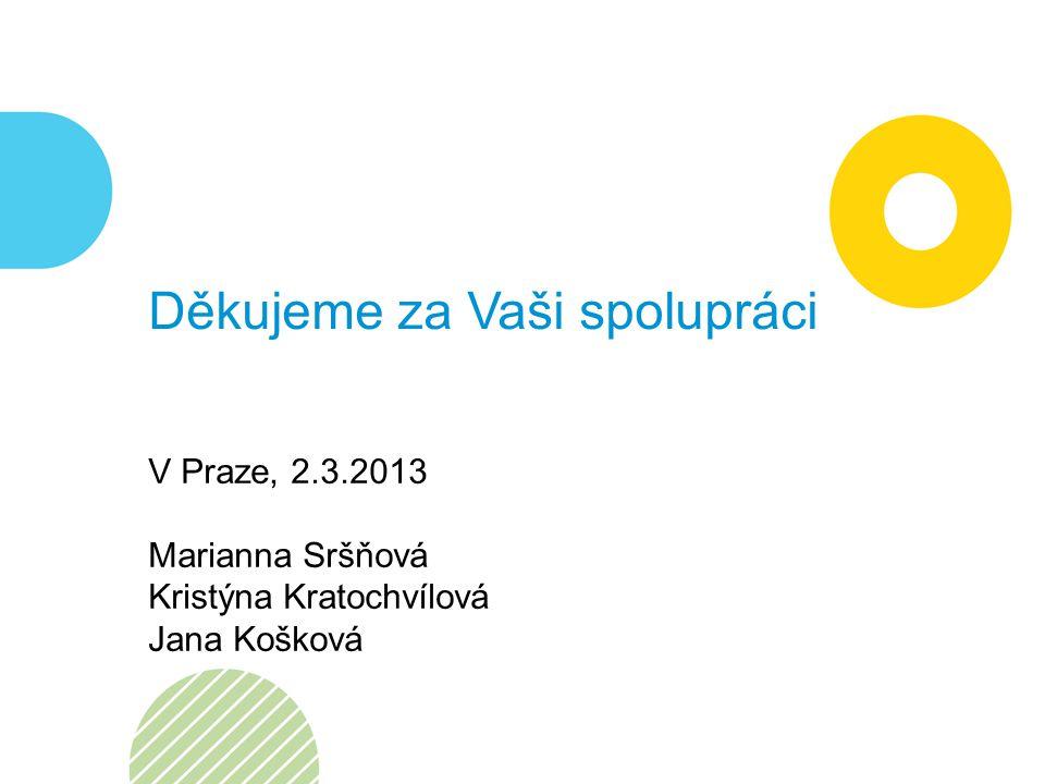 Děkujeme za Vaši spolupráci V Praze, 2.3.2013 Marianna Sršňová Kristýna Kratochvílová Jana Košková