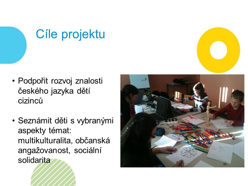 Cíle projektu Podpořit rozvoj znalosti českého jazyka dětí cizinců Seznámit děti s vybranými aspekty témat: multikulturalita, občanská angažovanost, sociální solidarita