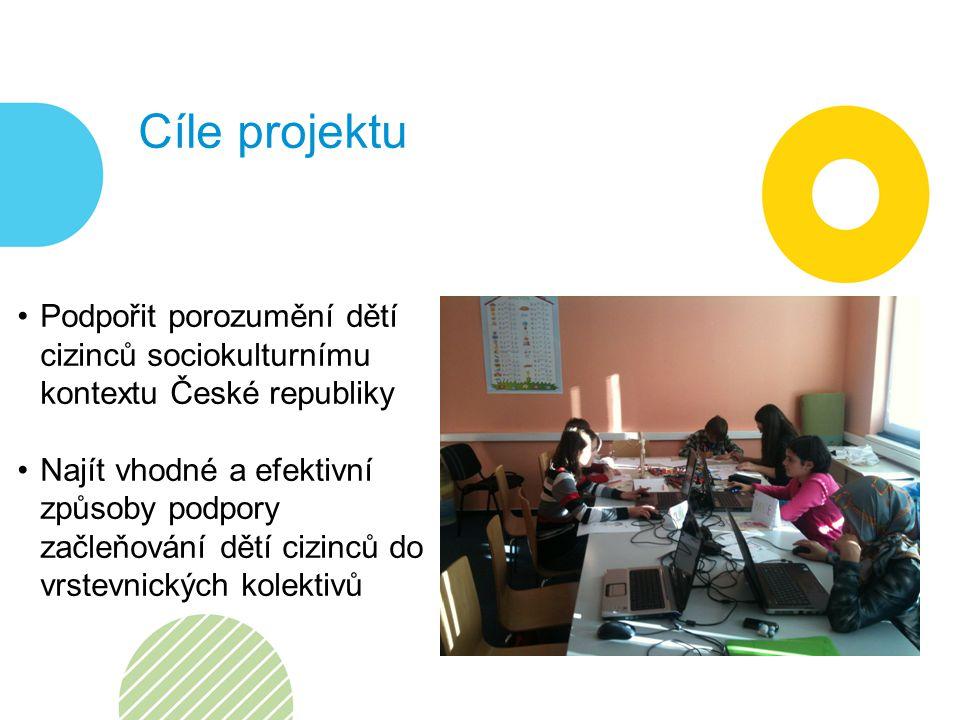 Cíle projektu Podpořit porozumění dětí cizinců sociokulturnímu kontextu České republiky Najít vhodné a efektivní způsoby podpory začleňování dětí cizinců do vrstevnických kolektivů