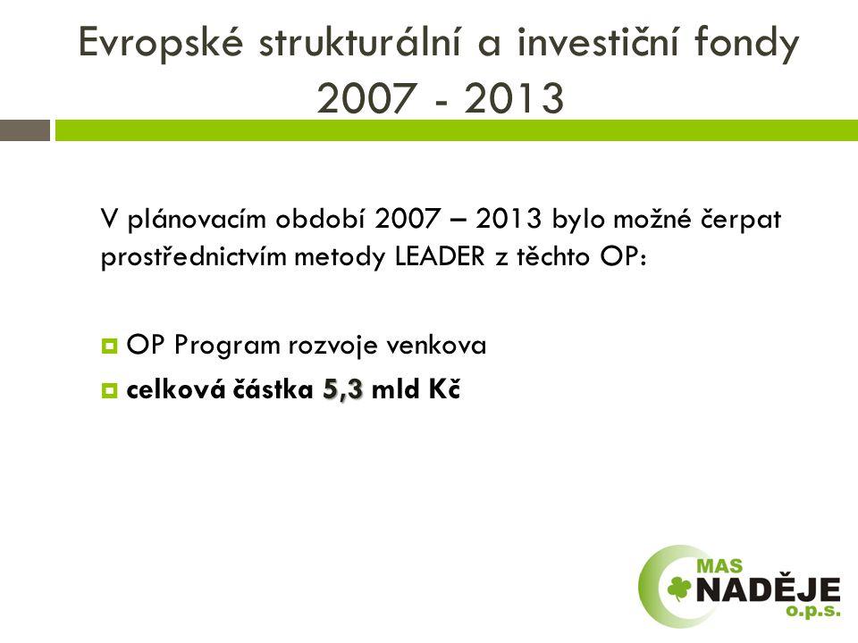 Evropské strukturální a investiční fondy 2007 - 2013  Dle informace ministryně MR p.
