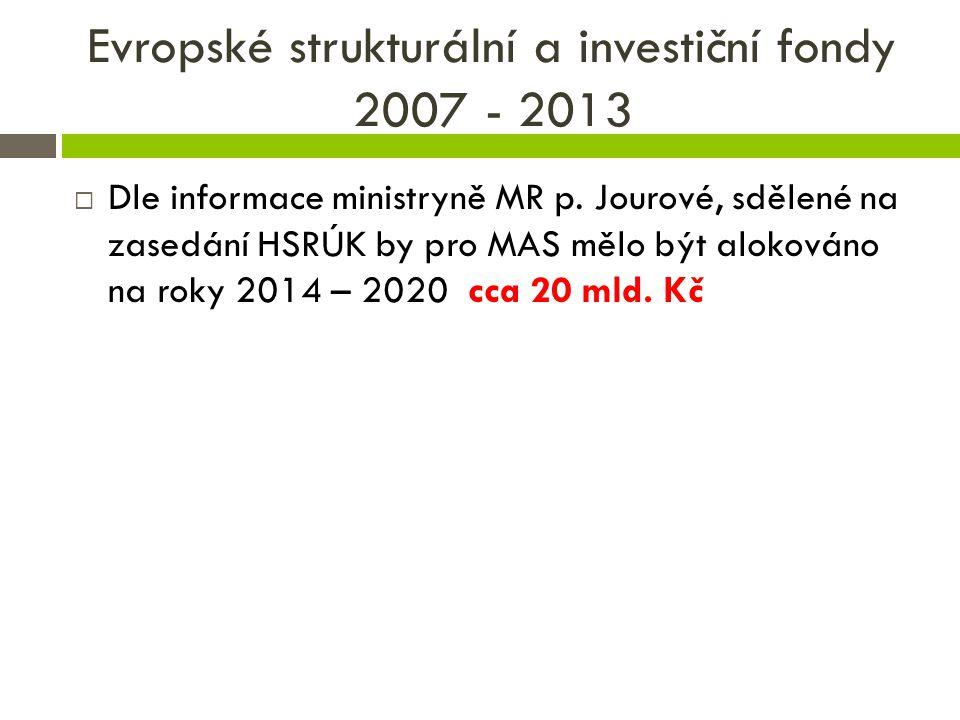 Evropské strukturální a investiční fondy 2014 - 2020 V plánovacím období 2014 – 2020 vyjednávací tým NS MAS ČR dojednal nové operační programy, z kterých budou metodou LEADER čerpány finanční prostředky ESI fondů, a to prostřednictvím Místních akčních skupin v ČR.