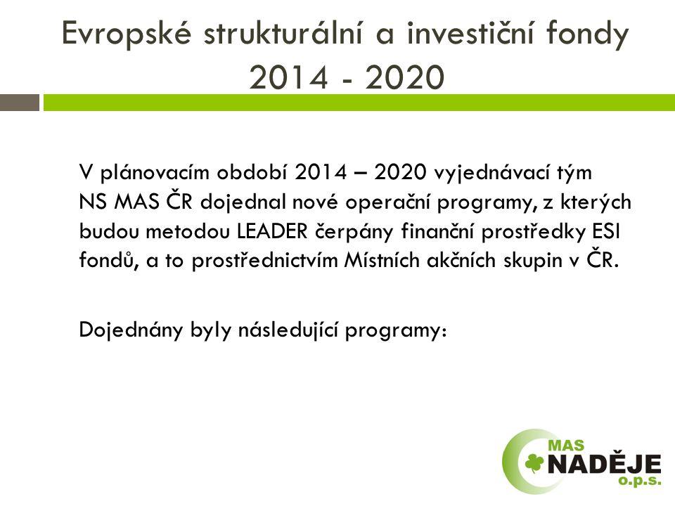 Evropské strukturální a investiční fondy 2014 - 2020  OP Program rozvoje venkova  OP Podnikání a inovace pro konkurenceschopnost  OP Vývoj, věda a vzdělávání  OP Zaměstnanost  Integrovaný regionální OP  OP Technická pomoc  OP Životní prostředí .