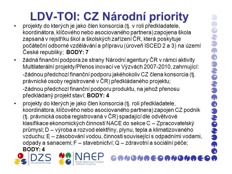 LDV-TOI: CZ Národní priority projekty do kterých je jako člen konsorcia (tj.