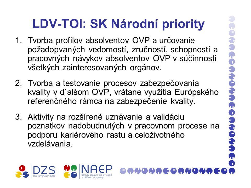 LDV-TOI: SK Národní priority 1.Tvorba profilov absolventov OVP a určovanie požadopvaných vedomostí, zručností, schopností a pracovných návykov absolventov OVP v súčinnosti všetkých zainteresovaných orgánov.