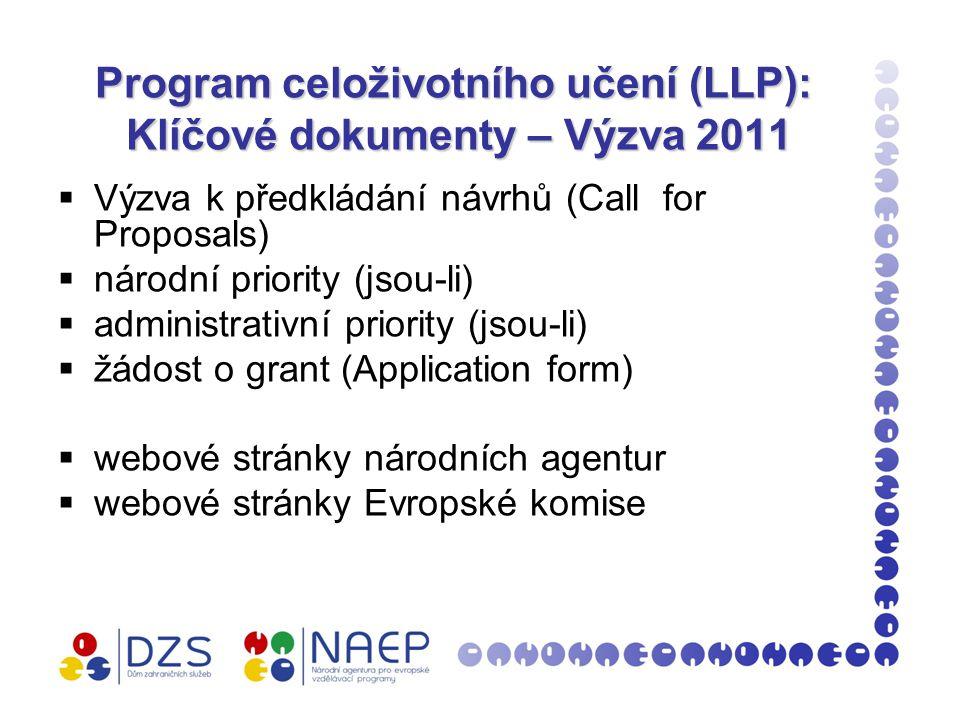 Program celoživotního učení (LLP): Klíčové dokumenty – Výzva 2011  Výzva k předkládání návrhů (Call for Proposals)  národní priority (jsou-li)  administrativní priority (jsou-li)  žádost o grant (Application form)  webové stránky národních agentur  webové stránky Evropské komise