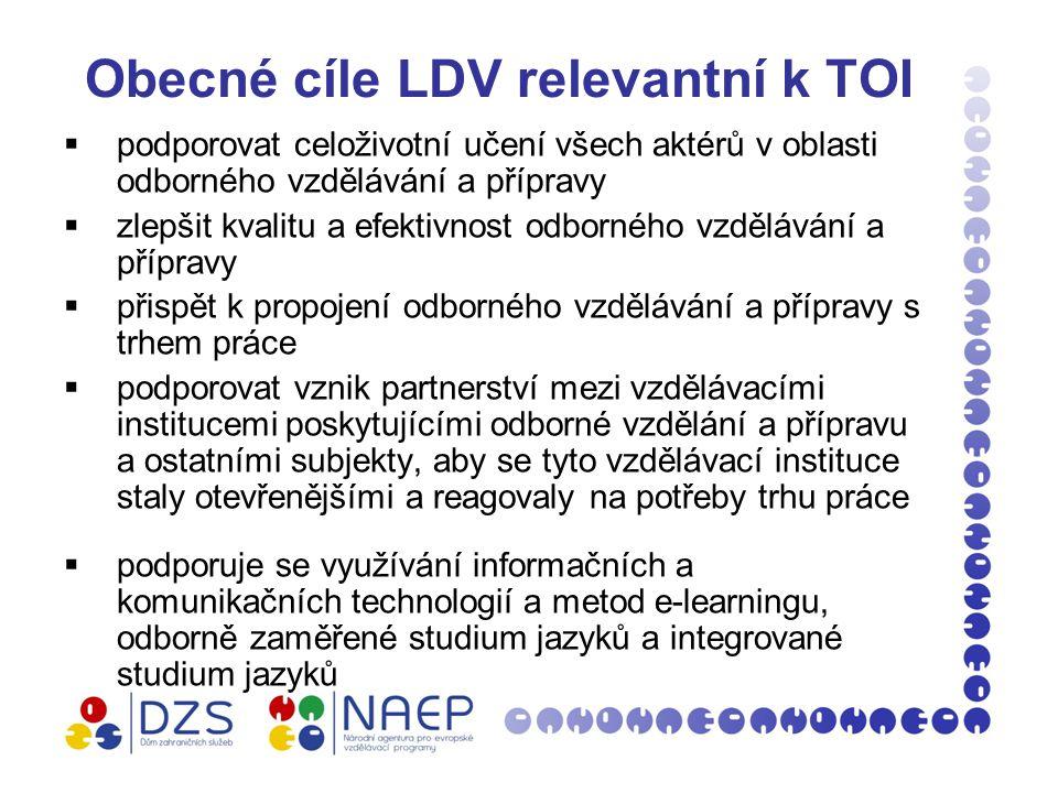 Obecné cíle LDV relevantní k TOI  podporovat celoživotní učení všech aktérů v oblasti odborného vzdělávání a přípravy  zlepšit kvalitu a efektivnost odborného vzdělávání a přípravy  přispět k propojení odborného vzdělávání a přípravy s trhem práce  podporovat vznik partnerství mezi vzdělávacími institucemi poskytujícími odborné vzdělání a přípravu a ostatními subjekty, aby se tyto vzdělávací instituce staly otevřenějšími a reagovaly na potřeby trhu práce  podporuje se využívání informačních a komunikačních technologií a metod e-learningu, odborně zaměřené studium jazyků a integrované studium jazyků