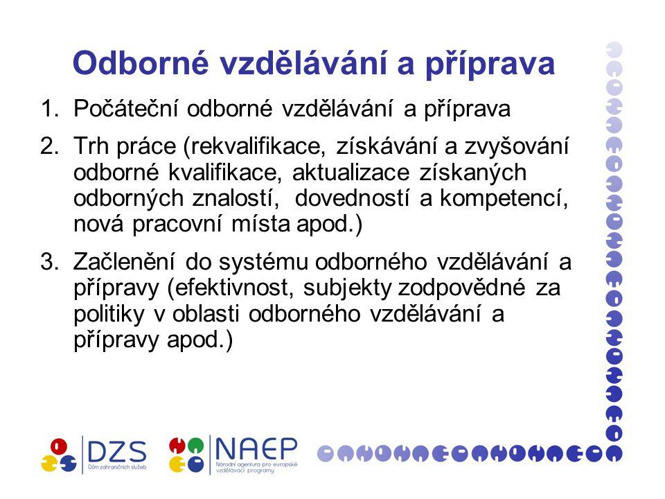 Odborné vzdělávání a příprava 1.Počáteční odborné vzdělávání a příprava 2.Trh práce (rekvalifikace, získávání a zvyšování odborné kvalifikace, aktualizace získaných odborných znalostí, dovedností a kompetencí, nová pracovní místa apod.) 3.Začlenění do systému odborného vzdělávání a přípravy (efektivnost, subjekty zodpovědné za politiky v oblasti odborného vzdělávání a přípravy apod.)