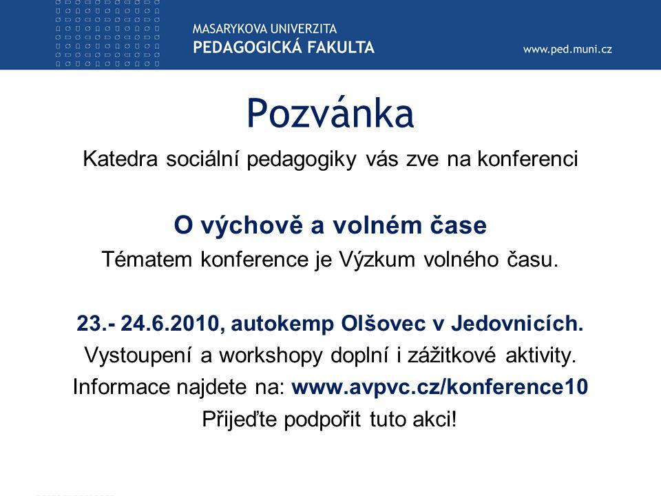 Pozvánka Katedra sociální pedagogiky vás zve na konferenci O výchově a volném čase Tématem konference je Výzkum volného času.