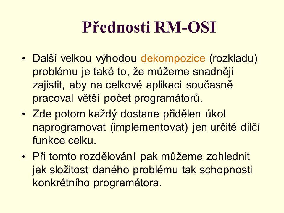 Přednosti RM-OSI Další velkou výhodou dekompozice (rozkladu) problému je také to, že můžeme snadněji zajistit, aby na celkové aplikaci současně pracoval větší počet programátorů.
