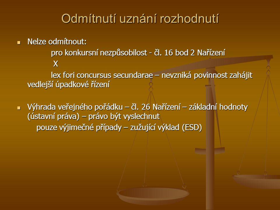 Odmítnutí uznání rozhodnutí Nelze odmítnout: Nelze odmítnout: pro konkursní nezpůsobilost - čl. 16 bod 2 Nařízení pro konkursní nezpůsobilost - čl. 16
