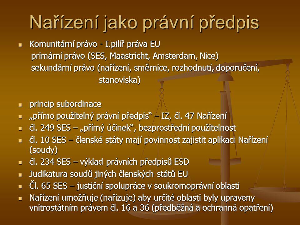 Nařízení jako právní předpis Komunitární právo - I.pilíř práva EU Komunitární právo - I.pilíř práva EU primární právo (SES, Maastricht, Amsterdam, Nic