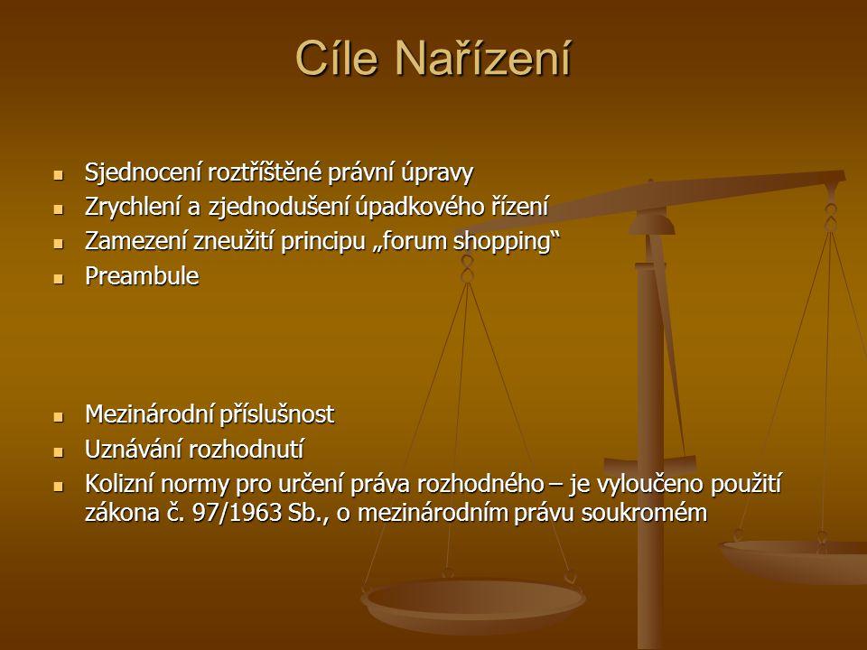 Cíle Nařízení Sjednocení roztříštěné právní úpravy Sjednocení roztříštěné právní úpravy Zrychlení a zjednodušení úpadkového řízení Zrychlení a zjednod