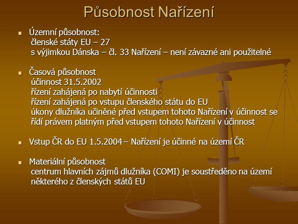 Působnost Nařízení Nahrazuje mezinárodní smlouvy uvedené v čl.