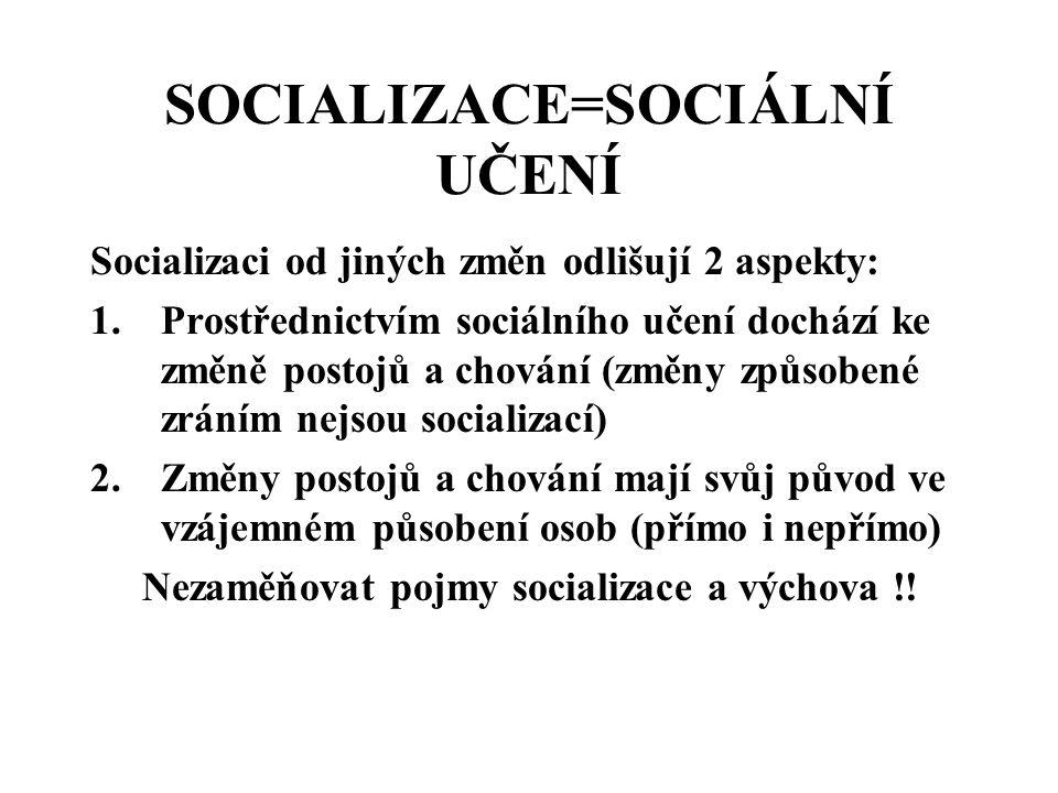 """SOCIALIZACE -JE PERMANENTNÍ, CELOŽIVOTNÍ PROCES SOCIÁLNÍHO UČENÍ, ZÍSKÁVÁNÍ """"SOCIÁLNÍ INTELIGENCE , VE KTERÉM SE JEDINEC STÁVÁ ČLENEM SPOLEČNOSTI, OSVOJUJE SI RŮZNÉ SOCIÁLNÍ ROLE, SPOLEČENSKÉ NORMY A HODNOTY -Etapy: primární a sekundární předpracovní, pracovní a popracovní"""
