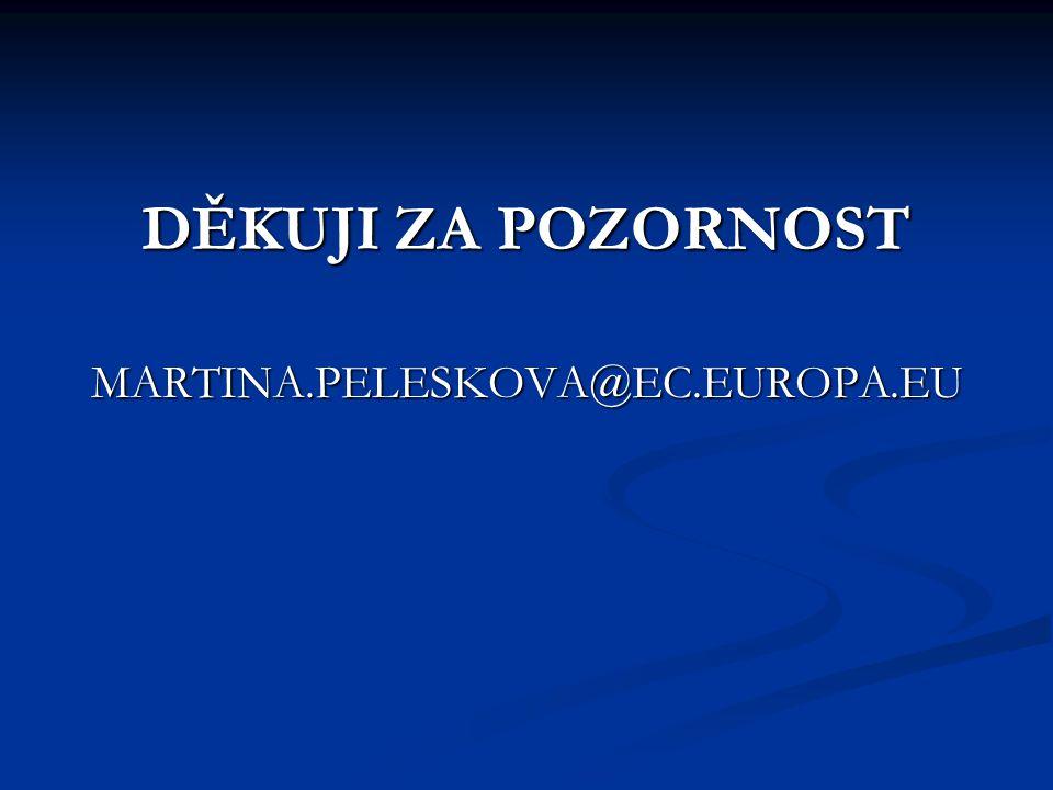 DĚKUJI ZA POZORNOST MARTINA.PELESKOVA@EC.EUROPA.EU