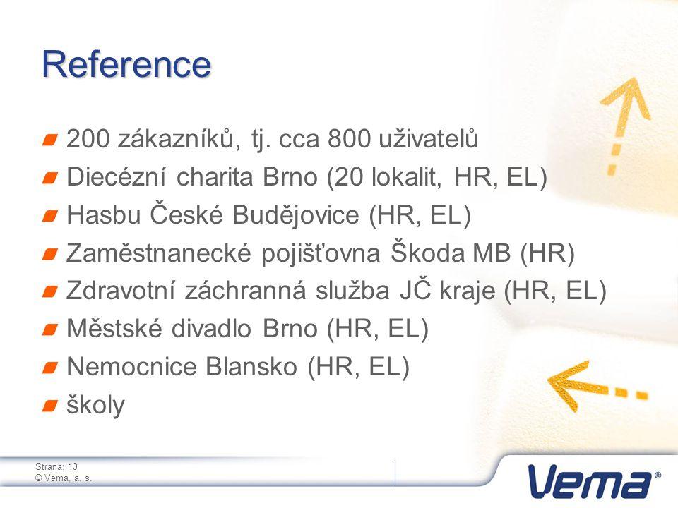 Strana: 13 © Vema, a. s. Reference 200 zákazníků, tj.