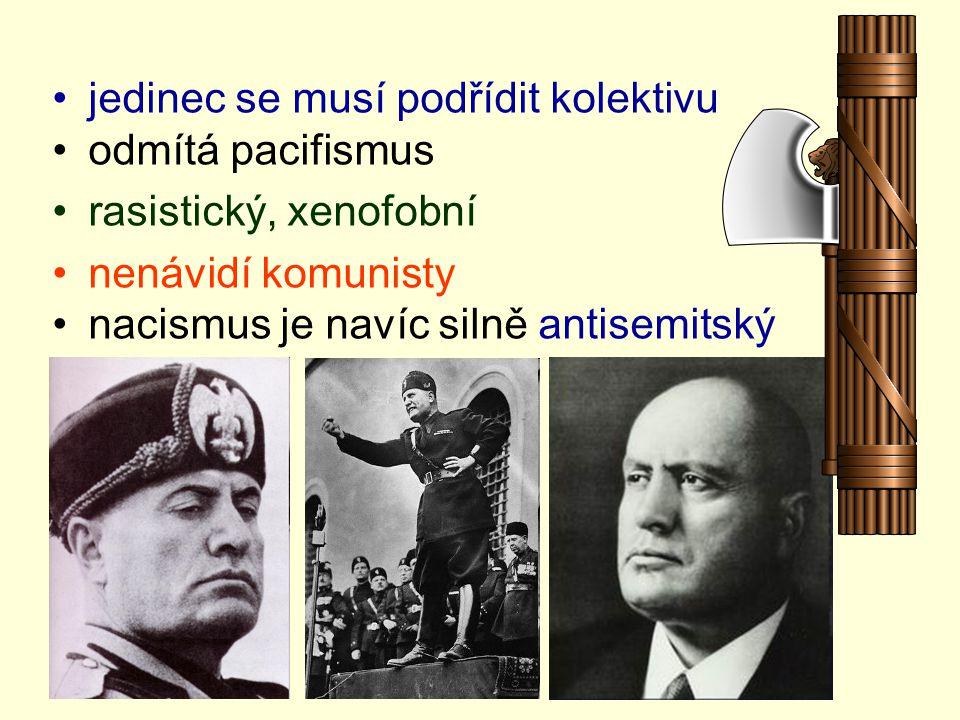 jedinec se musí podřídit kolektivu odmítá pacifismus rasistický, xenofobní nenávidí komunisty nacismus je navíc silně antisemitský