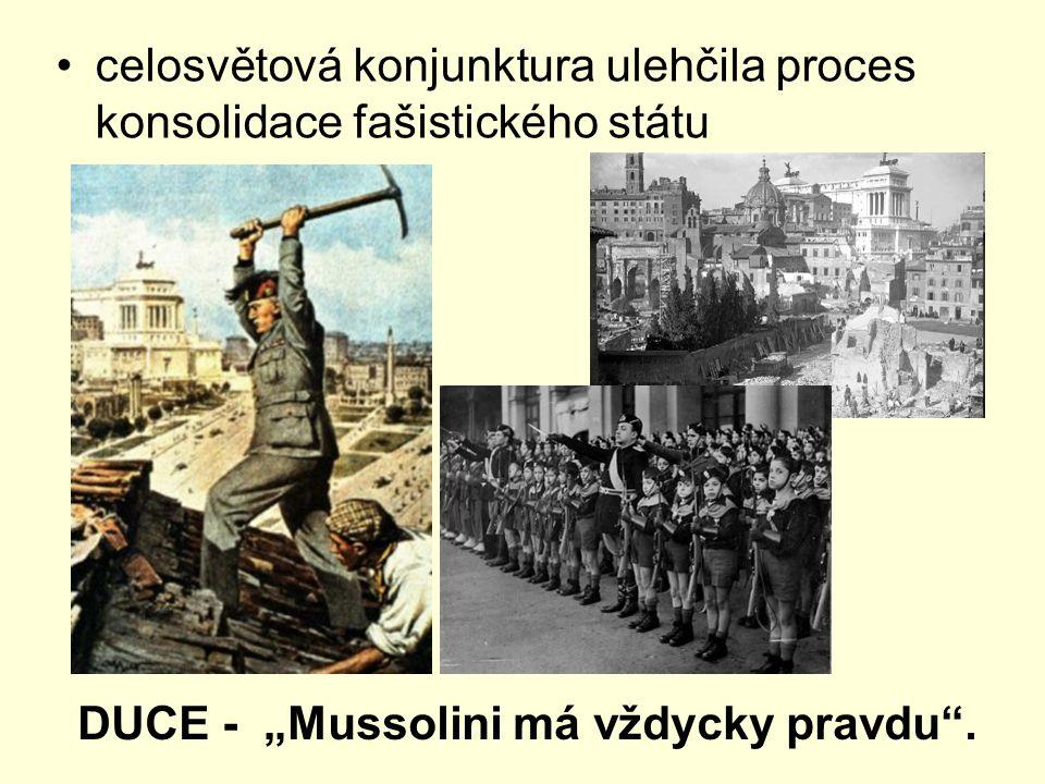 """celosvětová konjunktura ulehčila proces konsolidace fašistického státu DUCE - """"Mussolini má vždycky pravdu ."""