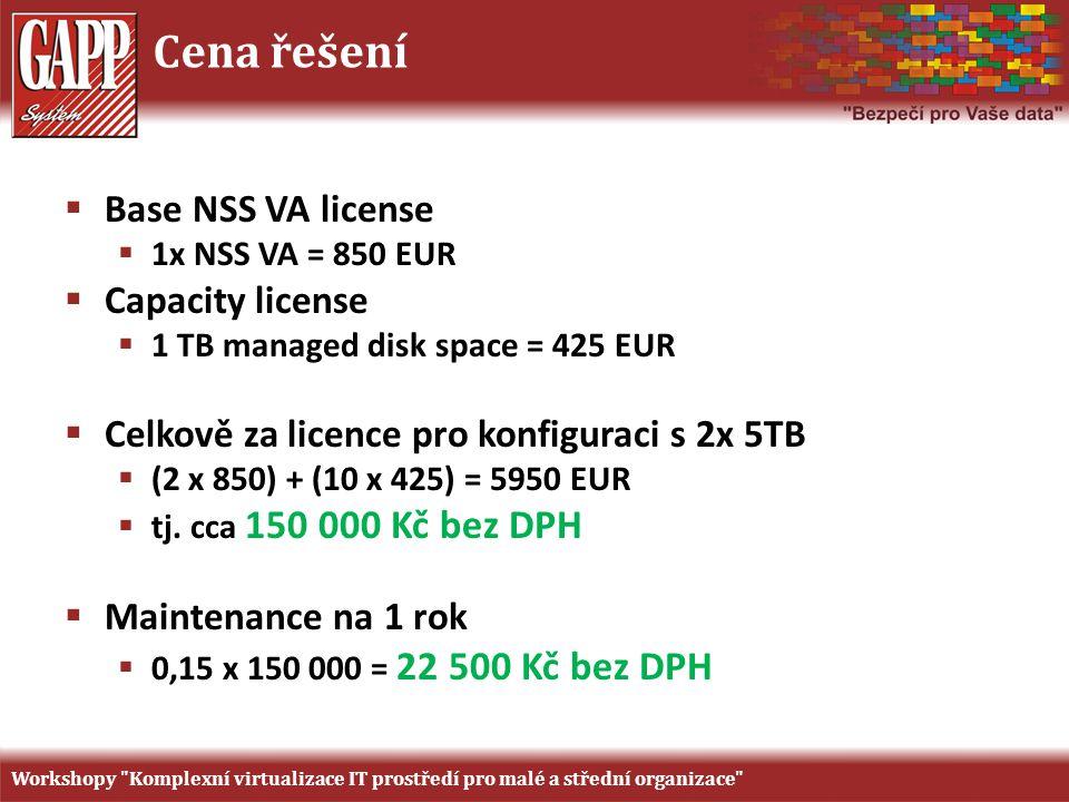 Cena řešení  Base NSS VA license  1x NSS VA = 850 EUR  Capacity license  1 TB managed disk space = 425 EUR  Celkově za licence pro konfiguraci s 2x 5TB  (2 x 850) + (10 x 425) = 5950 EUR  tj.