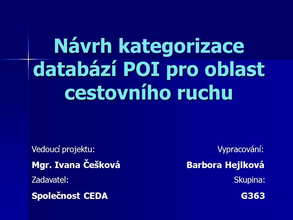 Návrh databází POI pro oblast cestovního ruchu Návrh kategorizace databází POI pro oblast cestovního ruchu Vedoucí projektu: Vypracování: Mgr. Ivana Č