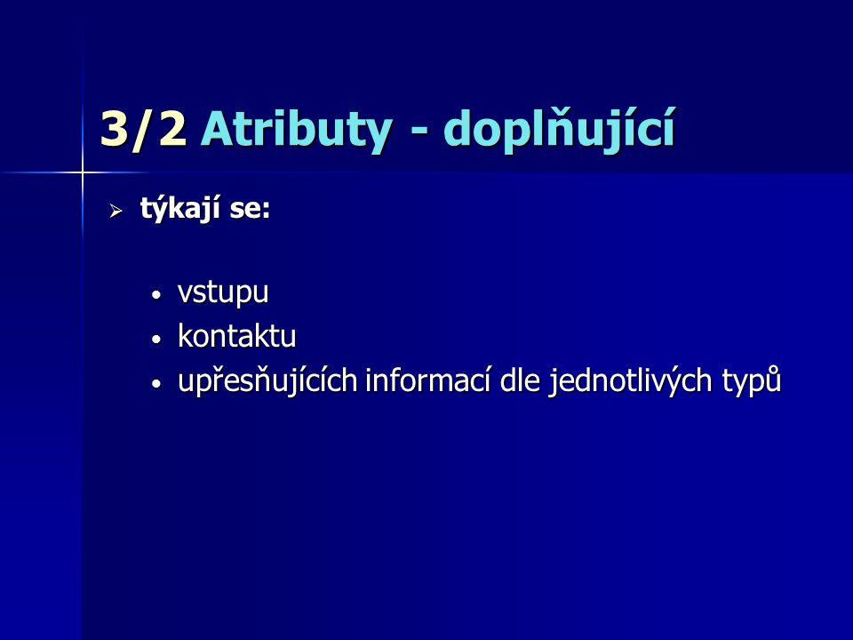 3/2 Atributy - doplňující  týkají se: vstupu vstupu kontaktu kontaktu upřesňujících informací dle jednotlivých typů upřesňujících informací dle jednotlivých typů