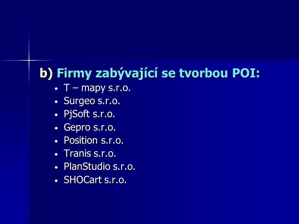 b) Firmy zabývající se tvorbou POI: T – mapy s.r.o. T – mapy s.r.o. Surgeo s.r.o. Surgeo s.r.o. PjSoft s.r.o. PjSoft s.r.o. Gepro s.r.o. Gepro s.r.o.