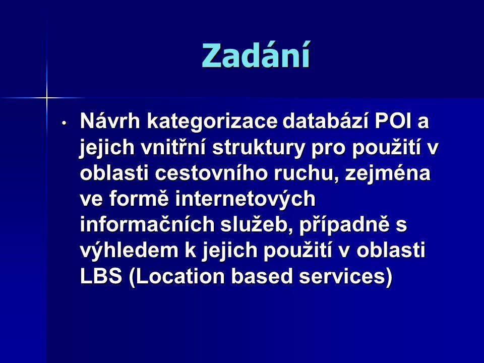 Zadání Návrh kategorizace databází POI a jejich vnitřní struktury pro použití v oblasti cestovního ruchu, zejména ve formě internetových informačních služeb, případně s výhledem k jejich použití v oblasti LBS (Location based services) Návrh kategorizace databází POI a jejich vnitřní struktury pro použití v oblasti cestovního ruchu, zejména ve formě internetových informačních služeb, případně s výhledem k jejich použití v oblasti LBS (Location based services)