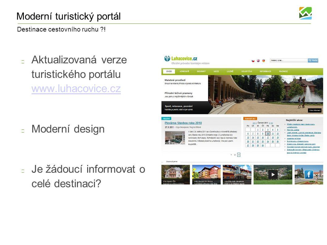 Destinace cestovního ruchu ?! Moderní turistický portál Aktualizovaná verze turistického portálu www.luhacovice.cz www.luhacovice.cz Moderní design Je