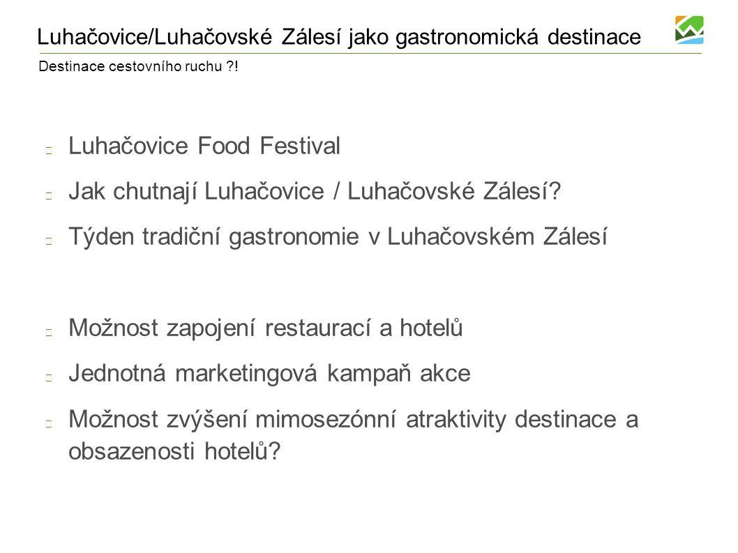 Destinace cestovního ruchu ?! Luhačovice/Luhačovské Zálesí jako gastronomická destinace Luhačovice Food Festival Jak chutnají Luhačovice / Luhačovské