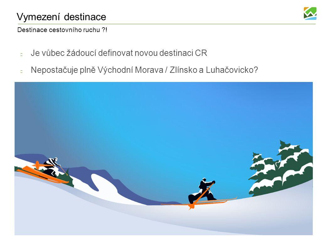 Destinace cestovního ruchu ?! Vymezení destinace Je vůbec žádoucí definovat novou destinaci CR Nepostačuje plně Východní Morava / Zlínsko a Luhačovick