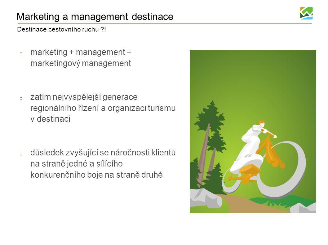 Destinace cestovního ruchu ?! Marketing a management destinace marketing + management = marketingový management zatím nejvyspělejší generace regionáln