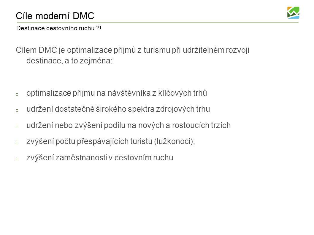 Destinace cestovního ruchu ?! Cíle moderní DMC Cílem DMC je optimalizace příjmů z turismu při udržitelném rozvoji destinace, a to zejména: optimalizac