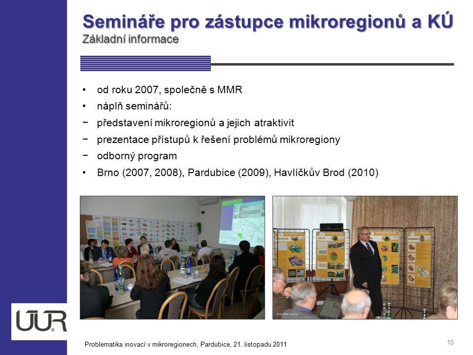 Semináře pro zástupce mikroregionů a KÚ Základní informace 10 od roku 2007, společně s MMR náplň seminářů: −představení mikroregionů a jejich atraktiv