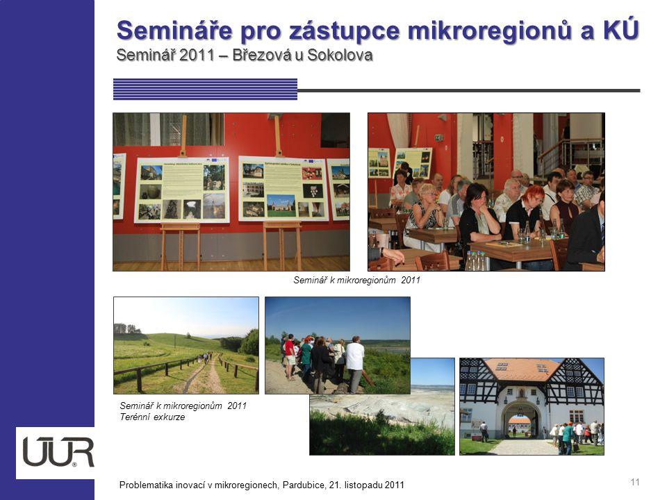 Semináře pro zástupce mikroregionů a KÚ Seminář 2011 – Březová u Sokolova 11 Seminář k mikroregionům 2011 Terénní exkurze Problematika inovací v mikro