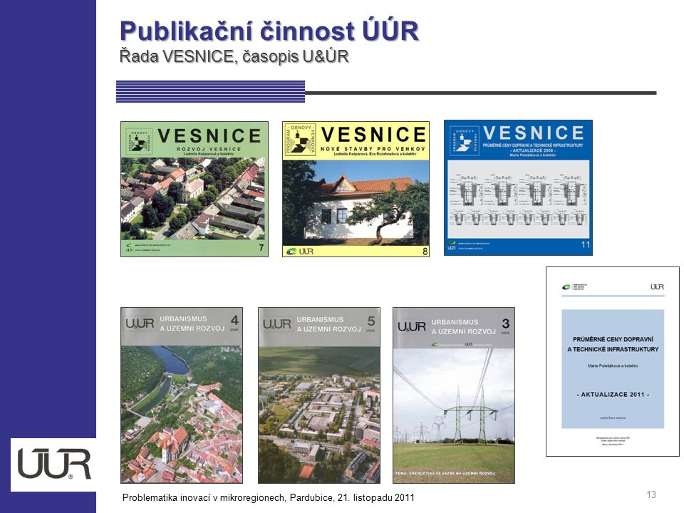 Publikační činnost ÚÚR Řada VESNICE, časopis U&ÚR 13 Problematika inovací v mikroregionech, Pardubice, 21. listopadu 2011