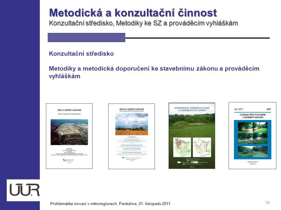 Metodická a konzultační činnost Konzultační středisko, Metodiky ke SZ a prováděcím vyhláškám 14 Konzultační středisko Metodiky a metodická doporučení