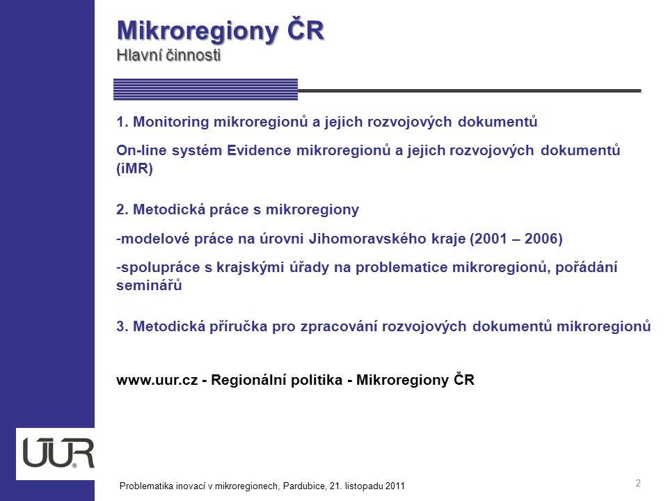 Monitoring mikroregionů a jejich RD Základní informace 3 od roku 2000 v roce 2006 založen informační systém / registr GIS mikroregionů ČR on-line systém – Evidence mikroregionů a jejich rozvojových dokumentů – iMR údaje v databázi mikroregionů jsou on-line aktualizovány samotnými pracovníky mikroregionů pasport mikroregionu odkaz na www stránky mikroregionu mapový server Problematika inovací v mikroregionech, Pardubice, 21.